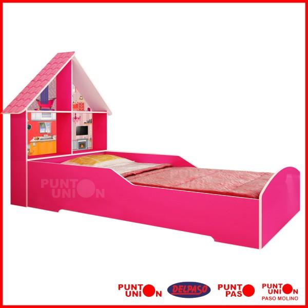 Cama casita rosa
